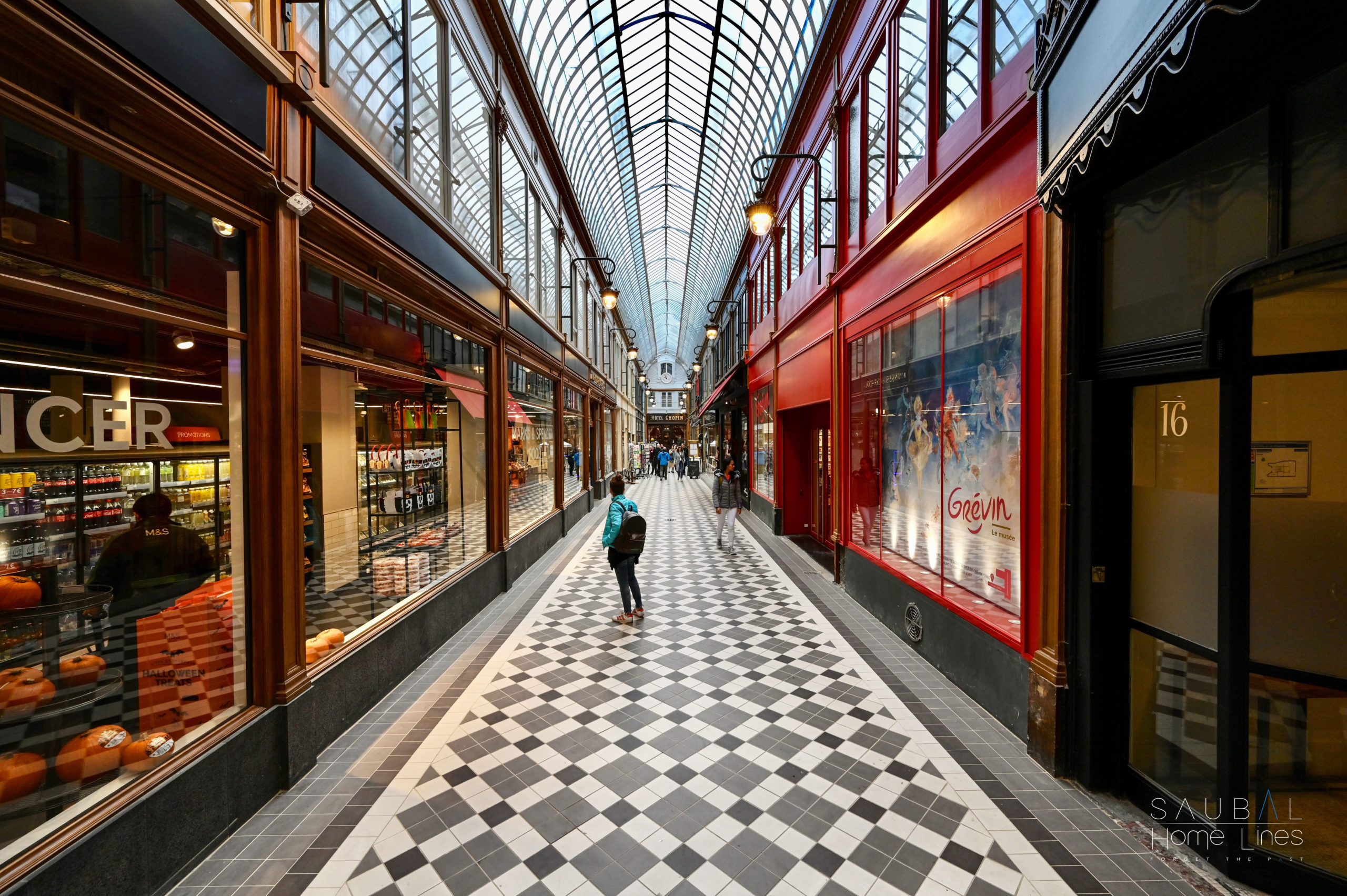 Passage Jouffroy - Architecture de verre et de fer - Luminaires, Menuiseries-peinture décorative