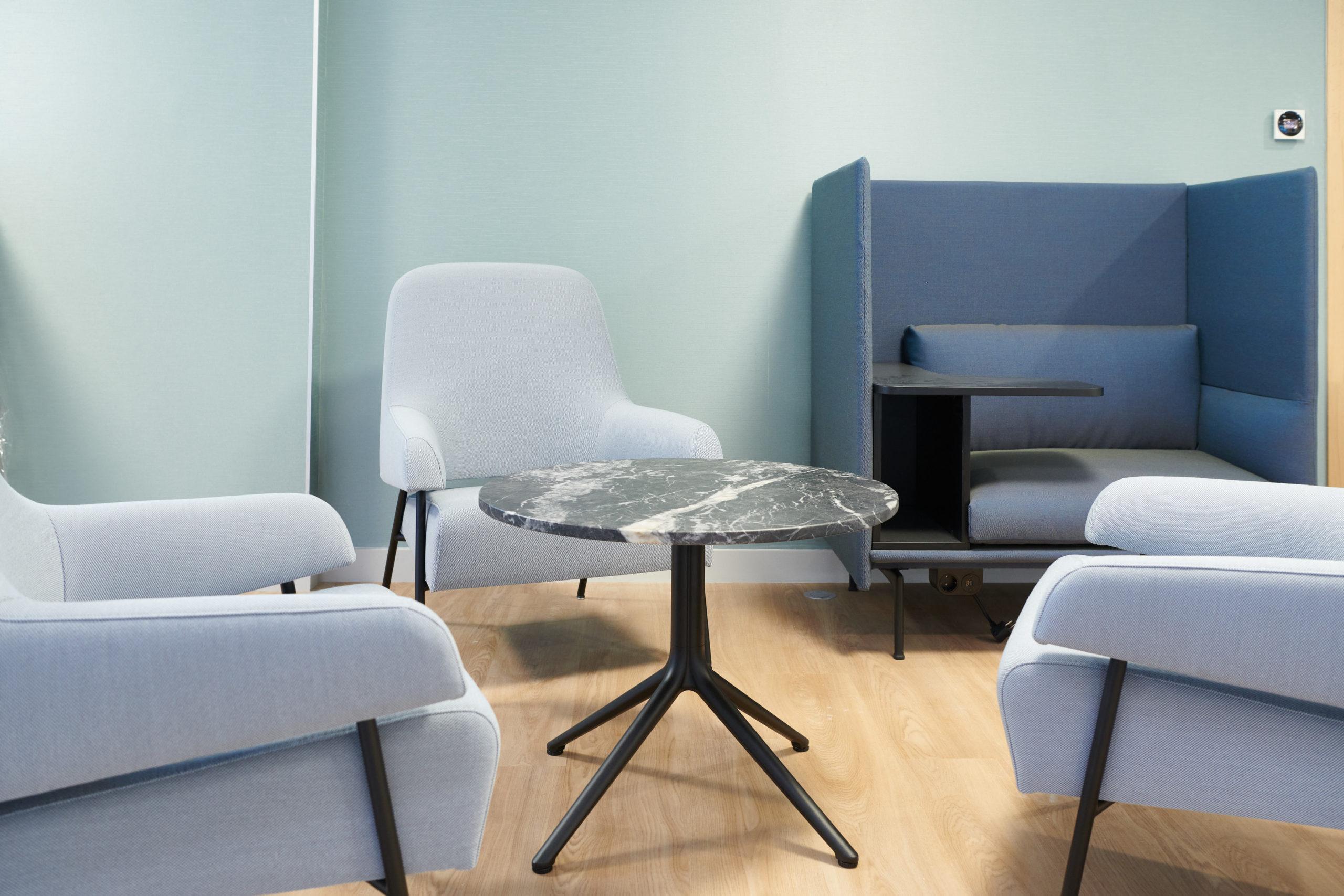 Skema-table basse marbre-cabine acoustique-fauteuil lounge